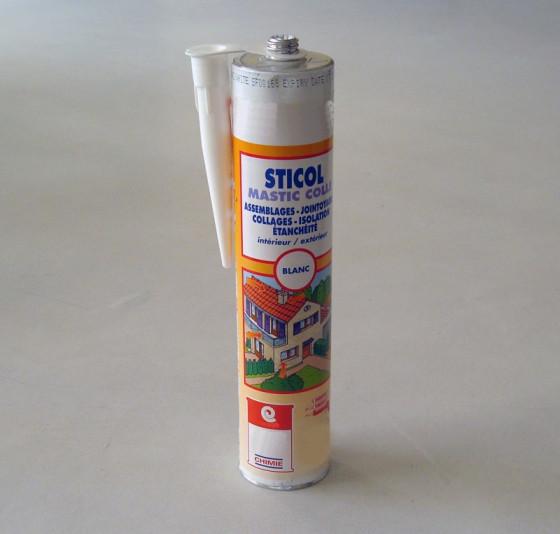 MASTIC STICOL - Mastic collage de tuiles et gouttières colle polyuréthane PU Label SNJF carrelage béton bois métal