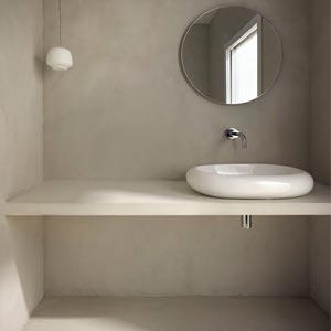 béton ciré sol salle de bains plan vasque